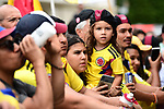 Colombian fans out in force at sign on before the start of Stage 21 of the 2019 Tour de France running 128km from Rambouillet to Paris Champs-Elysees, France. 28th July 2019.<br /> Picture: ASO/Alex Broadway | Cyclefile<br /> All photos usage must carry mandatory copyright credit (© Cyclefile | ASO/Alex Broadway)