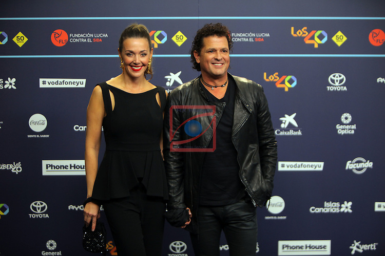 Los 40 MUSIC Awards 2016 - Photocall.<br /> Claudia Elena Vasquez &amp; Carlos Vives.