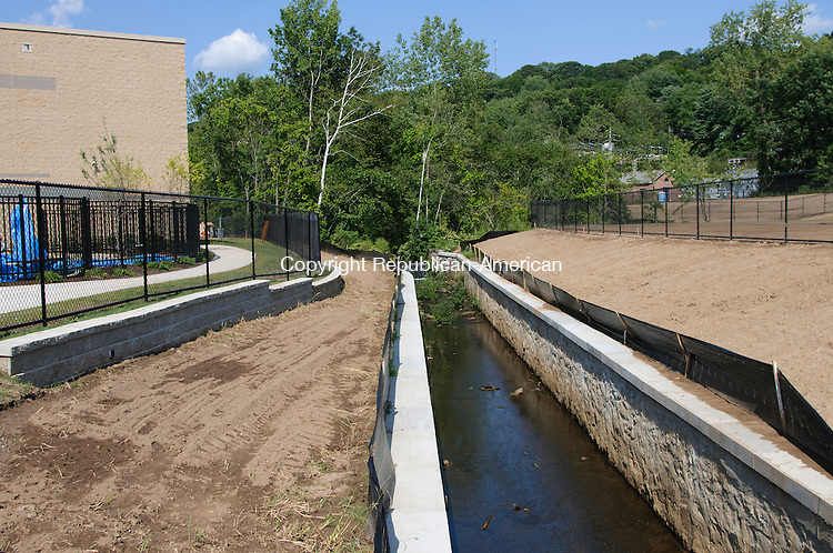 WATERBURY, CT - 17 August 2012-081712EC11--   A stream passes through the side of the new Jonathan E. Reed School in Waterbury.  Over 350 children from pre-k to eighth grade will be attending the school, on the corner of North Main and Griggs Street.  Erin Covey Republican American.