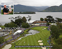 A high view of the 18th green on the Killeen Course as Simon Dyson prepares to take his last putt to win the Irish Open 2011.<br /> Picture by MacMonagle, Killarney