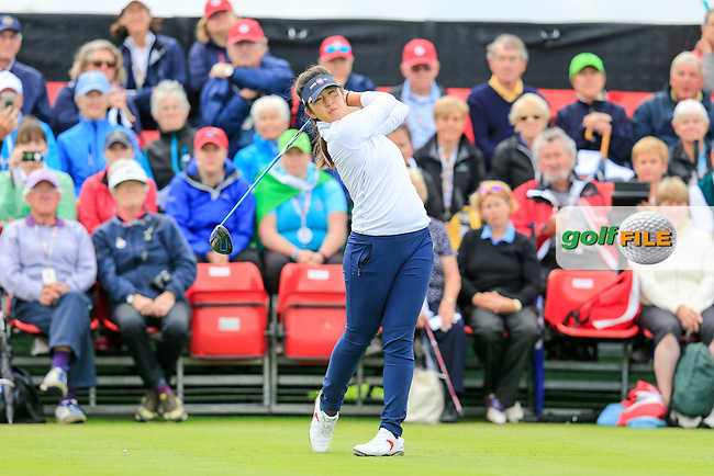 Andrea Lee during Sunday Singles matches at the 2016 Curtis cup from Dun Laoghaire Golf Club, Ballyman Rd, Enniskerry, Co. Wicklow, Ireland. 12/06/2016.<br /> Picture Fran Caffrey / Golffile.ie<br /> <br /> All photo usage must carry mandatory copyright credit (&copy; Golffile   Fran Caffrey)