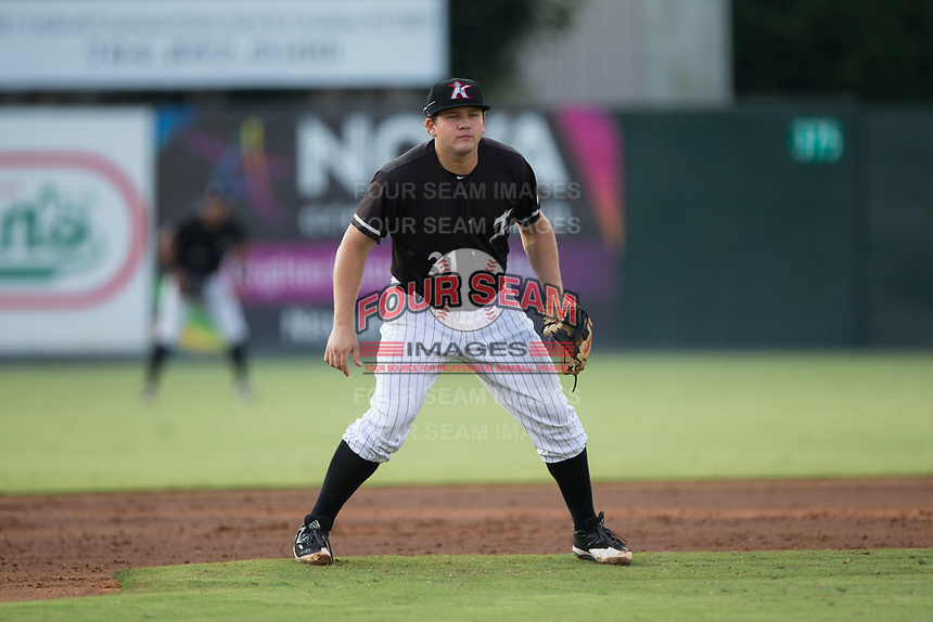 Kannapolis Intimidators third baseman Jake Burger (31) on defense against the Hagerstown Suns at Kannapolis Intimidators Stadium on July 10, 2017 in Kannapolis, North Carolina.  The Suns defeated the Intimidators 8-5.  (Brian Westerholt/Four Seam Images)