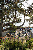 USA, California, Big Sur, Esalen, people dine on a deck at the main Lodge, the Esalen Institute