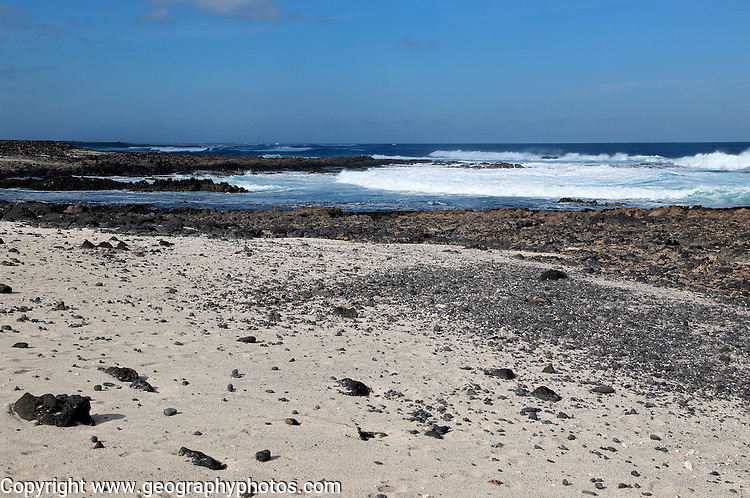 Beach of white sand, near Majanicho on north coast of Fuerteventura, Canary Islands, Spain
