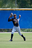 Pittsburgh Pirates center fielder Angel Basabe (87) warms up in the outfield before a Florida Instructional League game against the Toronto Blue Jays on September 20, 2018 at the Englebert Complex in Dunedin, Florida.  (Mike Janes/Four Seam Images)