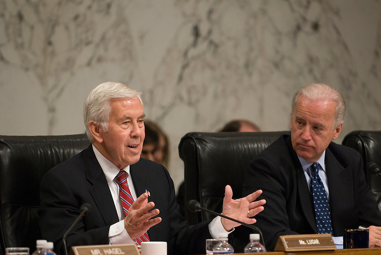 Richard Lugar, R-IN, and Chairman Joseph Biden, D-DE, during the Senate Foreign Relations Committee Full committee hearing on the nomination of John Negroponte to be deputy secretary of State.