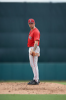Boston Red Sox pitcher Alex Scherff (54) looks in for the sign during a Florida Instructional League game against the Baltimore Orioles on October 8, 2018 at the Ed Smith Stadium in Sarasota, Florida.  (Mike Janes/Four Seam Images)