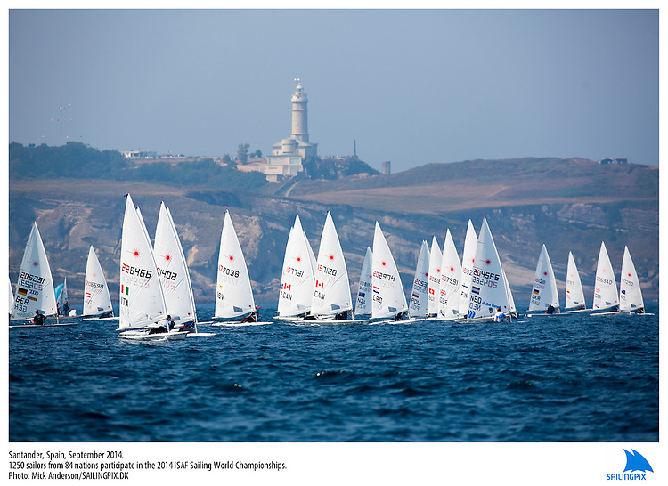 20140912, Santander, Spain: 2014 ISAF SAILING WORLD CHAMPIONSHIPS - More than 1,250 sailors in over 900 boats from 84 nations will compete at the Santander 2014 ISAF Sailing World Championships from 8-21 September 2014. The best sailing talent will be on show and as well as world titles being awarded across ten events 50% of Rio 2016 Olympic Sailing Competition places will be won based on results in Santander.. Photo: Mick Anderson/SAILINGPIX.DK. Keywords: Sailing, water, sport, ocean, boats, olympic, dinghy, dinghies, crew, team, sail. Filename: _49A1797.CR2.