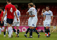 Leeds United's Pablo Hernandez celebrates scoring his side's third goal with teammates<br /> <br /> Photographer Alex Dodd/CameraSport<br /> <br /> Football Pre-Season Friendly - York City v Leeds United - Wednesday 10th July 2019 - Bootham Crescent - York<br /> <br /> World Copyright © 2019 CameraSport. All rights reserved. 43 Linden Ave. Countesthorpe. Leicester. England. LE8 5PG - Tel: +44 (0) 116 277 4147 - admin@camerasport.com - www.camerasport.com