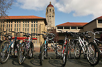 26 September 2006: Bicycles in front of Green Library and Hoover Tower at Stanford University in Stanford, CA.