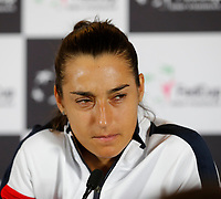 9th November 2019; RAC Arena, Perth, Western Australia, Australia; Fed Cup by BNP Paribas Tennis Final, Day 1, Australia versus France; Caroline Garcia of France at her press conference after she was defeated by Ash Barty in the second rubber 6-0 6-0