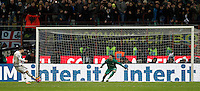 Calcio, Coppa Italia: semifinale di ritorno Inter vs Juventus. Milano, stadio San Siro, 2 marzo 2016. <br /> Juventus&rsquo;s Alvaro Morata, left, scores against FC Inter&rsquo;s goalkeeper Samir Handanovic during a penalty shootout during the Italian Cup second leg semifinal football match between Inter and Juventus at Milan's San Siro stadium, 2 March 2016.<br /> UPDATE IMAGES PRESS/Isabella Bonotto