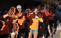 The O-Team cheers for parents and students at the Welcome to Oxy event at the Remsen Bird Hillside Theater (Greek Bowl) as part of the official Orientation welcome. Incoming first-years and their families are welcomed by enthusiastic O-Team members and other members of the community during Occidental College's Fall move-in and orientation for the class of 2022, Aug. 23, 2018.<br /> (Photo by Marc Campos, Occidental College Photographer)