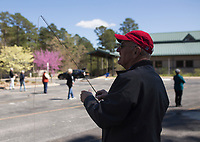 "NWA Democrat-Gazette/CHARLIE KAIJO Loyal Steube of Rogers reels his rod during a fly fishing class, Sunday, April 14, 2019 at Hobbs State Park in Rogers.<br /> <br /> Instructor Sallyann Brown, past recipient of the ""Woman of the Year"" and the ""Federation of Fly Fishers Educator of the Year"" awards from the Federation of Fly Fishers, Inc. taught a four hour fly fishing class.<br /> <br /> Participants learned four basic casts, the six basic types of flies (lures), how to cast and ""play"" the flies in the water, how to read water, how to wade, how to purchase and assemble equipment, how to store equipment and how to tie the four basic knots used by fly fishers."