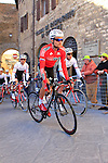 Artem Ovechkin (RUS) Rusvelo makes his way to sign on before the start of the 2015 Strade Bianche Eroica Pro cycle race 200km over the white gravel roads from San Gimignano to Siena, Tuscany, Italy. 7th March 2015<br /> Photo: Eoin Clarke www.newsfile.ie