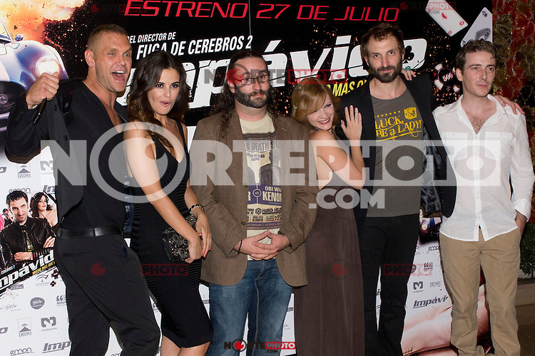 26.07.2012. Premier at Palafox Cinema in Madrid of the movie 'Impavido&acute;, directed by Carlos Theron and starring by Marta Torne, Selu Nieto, Nacho Vidal, Carolina Bona, Julian Villagran and Manolo Solo. In the image Nacho Vidal, Marta Tome, Carlos Theron, Carolina Bona, Julian Villagran and Victor Clavijo (Alterphotos/Marta Gonzalez) /NortePhoto.com <br />