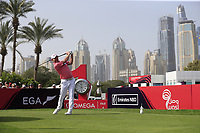 Stephen Gallacher (SCO) on the 1st tee during Round 2 of the Omega Dubai Desert Classic, Emirates Golf Club, Dubai,  United Arab Emirates. 25/01/2019<br /> Picture: Golffile | Thos Caffrey<br /> <br /> <br /> All photo usage must carry mandatory copyright credit (© Golffile | Thos Caffrey)