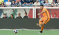 FOXBOROUGH, MA - JUNE 29: Alejandro Fuenmayor #2 passes the ball during a game between Houston Dynamo and New England Revolution at Gillette Stadium on June 29, 2019 in Foxborough, Massachusetts.