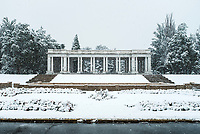 Snow in Cheesman Park in Denver, Colorado, Monday, October 9, 2017. Once called Denver&rsquo;s &ldquo;Temple in the Sun&rdquo;, the greek-style Pavilion was built in 1910, along with three fountains at the base of it.<br /> <br /> Photo by Matt Nager