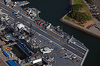 aerial photograph of the USS Midway Aircraft Carrier Museum, San Diego, CA