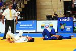 Der Belgier Kenneth Van Gansbeke (blau) und der Deutsche Lukas Vennekold liegen völlig erschöpft am Boden nach dem Ende des Finalkampfes in der Gewichtsklasse bis 66 Kilogramm der Männer beim European Cup im Judo am 27.8.2016 in Saarbrücken.<br /> <br /> Foto © PIX-Sportfotos *** Foto ist honorarpflichtig! *** Auf Anfrage in hoeherer Qualitaet/Aufloesung. Belegexemplar erbeten. Veroeffentlichung ausschliesslich fuer journalistisch-publizistische Zwecke. For editorial use only.