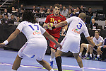 13.01.2013 Granollers, Spain. IHF men's world championship, prelimanary round. Picture show Vasko Sevaljevic   in action during game between France vs Montenegro at Palau d'esports de Granollers