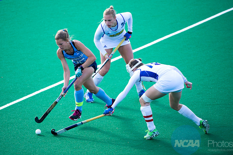 NORFOLK, VA - NOVEMBER 20:  Julia Young (16) of the University of North Carolina looks for an opening in the University of Delaware defense during the Division I Women's Field Hockey Championship held at the LR Hill Sports Complex on November 20, 2016 in Norfolk, Virginia.  Delaware defeated North Carolina 3-2 for the national title. (Photo by Jamie Schwaberow/NCAA Photos via Getty Images)