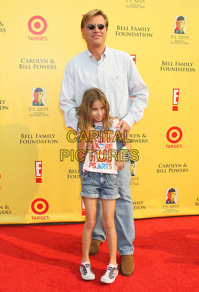 "AARON SORKIN.11th Anniversary of P.S. Arts ""Express Yourself 2008"" held at Barker Hanger at the Santa Monica Airport, Santa Monica, California, USA..November 16th, 2008.full length kid child white top jeans denim shorts .CAP/ADM/MJ.©Michael Jade/AdMedia/Capital Pictures."