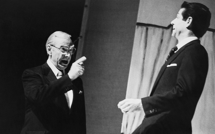 Rep. Jim Wright, D-Texas, with Don William as Reagan. March 1988 (Photo by Hexagon Play/CQ Roll Call)