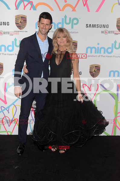 BEVERLY HILLS, CA - NOVEMBER 03: Novak Djokovic, Goldie Hawn at Goldie's Love In For Kids at Ron Burkle's Green Acres Estate on November 3, 2017 in Beverly Hills, California. Credit: David Edwards/MediaPunch
