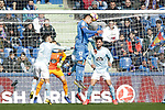 (L to R) Getafe CF's Mathias Olivera  and Celta de Vigo's Hugo Mallo during La Liga match. February 09,2019. (ALTERPHOTOS/Alconada)