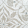 Vashti, a hand-cut stone mosaic, shown in honed Calacatta Tia, polished Socorro Gray, and Tropical White glass.