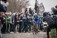 Niki Terpstra (NED/Quick-Step Floors) &amp; Yves Lampaert (BEL/Quick Step Floors) leading the race up the Oude Kwaremont Cobbles. <br /> <br /> 61th E3 Harelbeke 2018 (1.UWT)<br /> 1day race: Harelbeke &rsaquo; Harelbeke - BEL (206km)61th E3