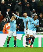 29th January 2019, St James Park, Newcastle upon Tyne, England; EPL Premier League football, Newcastle United versus Manchester City; Sergio Aguero of Manchester City gets a high five from Danilo of Manchester City after he scores to make it 0-1 in the 1st minute