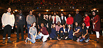 "Deon'te Goodman with student performers during the eduHAM Q & A before The Rockefeller Foundation and The Gilder Lehrman Institute of American History sponsored High School student #EduHam matinee performance of ""Hamilton"" at the Richard Rodgers Theatre on November 20, 2019 in New York City."