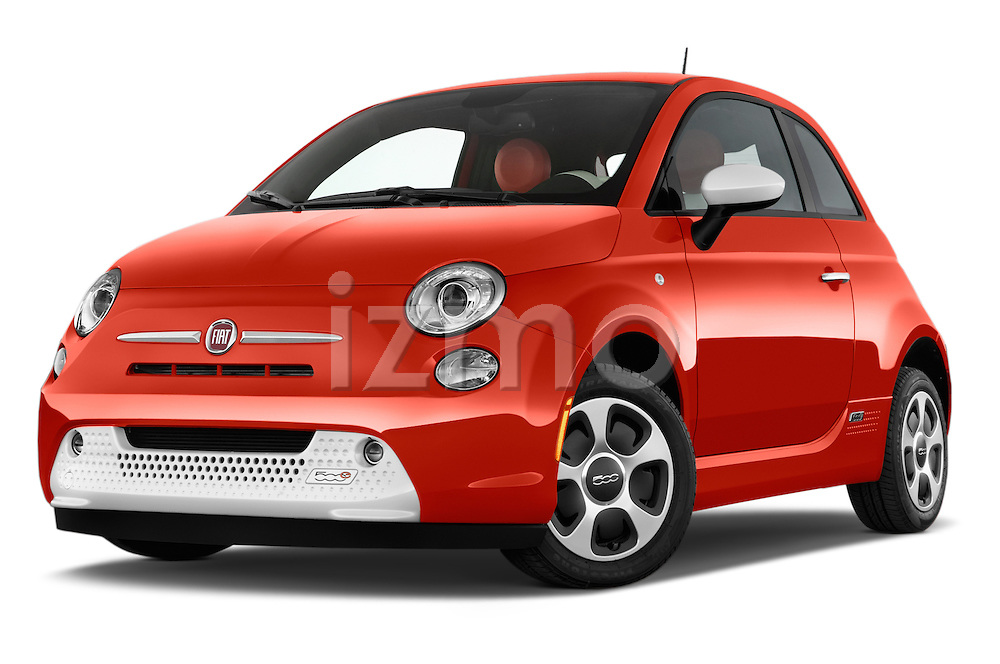 Stock pictures of low aggressive front three quarter view of a 2014 Fiat 500e Hatchback 3 Door Hatchback Low Aggressive