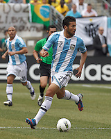 Argentina defender Ezequiel Garay (2) controls the ball. In an international friendly (Clash of Titans), Argentina defeated Brazil, 4-3, at MetLife Stadium on June 9, 2012.
