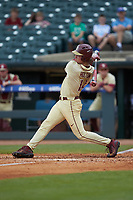 Tyler Holton (14) of the Florida State Seminoles follows through on his swing against the North Carolina Tar Heels in the 2017 ACC Baseball Championship Game at Louisville Slugger Field on May 28, 2017 in Louisville, Kentucky. The Seminoles defeated the Tar Heels 7-3. (Brian Westerholt/Four Seam Images)