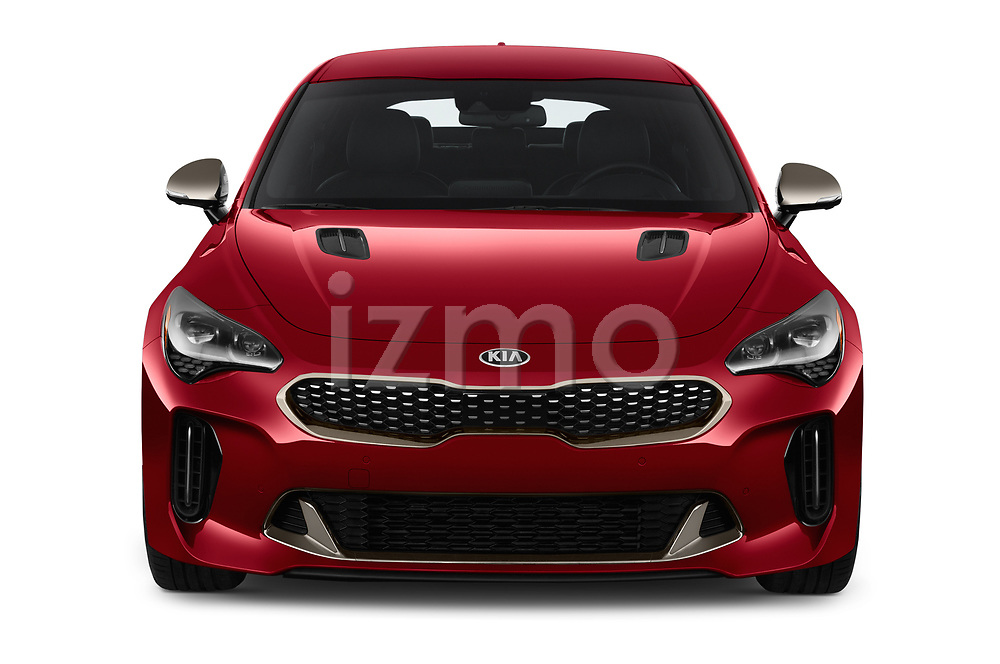 Car photography straight front view of a 2018 KIA Stinger GT 5 Door Hatchback