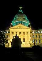 State Capitol, Jackson, State House, Mississippi, MS, The State Capitol Building in the capital city of Jackson in the evening.
