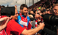 Lincoln City manager Danny Cowley celebrates promotion<br /> <br /> Photographer Andrew Vaughan/CameraSport<br /> <br /> Vanarama National League - Lincoln City v Macclesfield Town - Saturday 22nd April 2017 - Sincil Bank - Lincoln<br /> <br /> World Copyright &copy; 2017 CameraSport. All rights reserved. 43 Linden Ave. Countesthorpe. Leicester. England. LE8 5PG - Tel: +44 (0) 116 277 4147 - admin@camerasport.com - www.camerasport.com