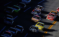 Nov. 1, 2009; Talladega, AL, USA; NASCAR Sprint Cup Series drivers race through the tri-oval during the Amp Energy 500 at the Talladega Superspeedway. Mandatory Credit: Mark J. Rebilas-