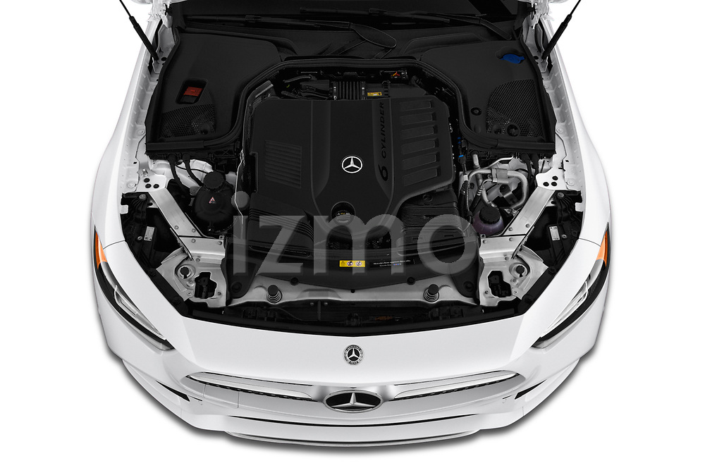 Car stock 2019 Mercedes Benz CLS-Coupe CLS450 4 Door Sedan engine high angle detail view