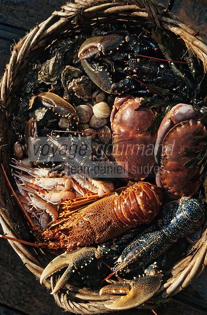 """Europe/France/Bretagne/22/Côtes-d'Armor/Port-Blanc: Fruits de mer et crustacés sur """"l'Ausqueme"""""""
