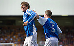 Motherwell v St Johnstone...11.08.12.Murray Davidson celebrates his goal.Picture by Graeme Hart..Copyright Perthshire Picture Agency.Tel: 01738 623350  Mobile: 07990 594431