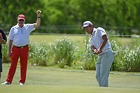 Hideki Matsuyama (JPN) watches his chip up on to then roll back off the green on 10 during round 4 of the AT&T Byron Nelson, Trinity Forest Golf Club, Dallas, Texas, USA. 5/12/2019.<br /> Picture: Golffile   Ken Murray<br /> <br /> <br /> All photo usage must carry mandatory copyright credit (© Golffile   Ken Murray)