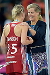 ENG - London, England, August 30: Sophie, Countess of Wessex hands over a gold medal to Alex DANSON #15 of England during the prize giving ceremony on August 30, 2015 at Lee Valley Hockey and Tennis Centre, Queen Elizabeth Olympic Park in London, England.  (Photo by Dirk Markgraf / www.265-images.com) *** Local caption ***