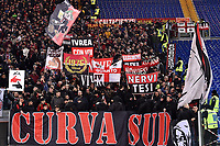 AC Milan supporters cheer on ahead the Serie A 2018/2019 football match between AS Roma and AC Milan at stadio Olimpico, Roma, February 3, 2019 <br />  Foto Andrea Staccioli / Insidefoto