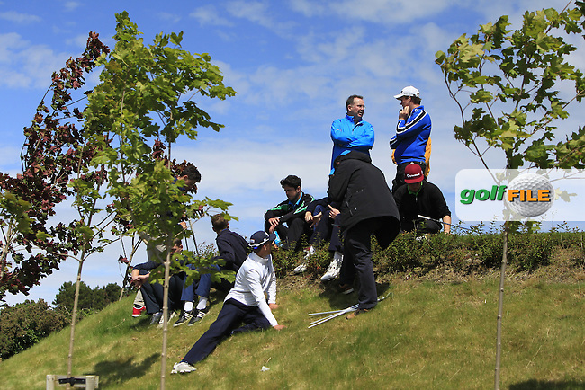 Supporters and players at the 18th tee during Round 3 of the 2016 Connacht U18 Boys Open, played at Galway Golf Club, Galway, Galway, Ireland. 07/07/2016. <br /> Picture: Thos Caffrey | Golffile<br /> <br /> All photos usage must carry mandatory copyright credit   (&copy; Golffile | Thos Caffrey)