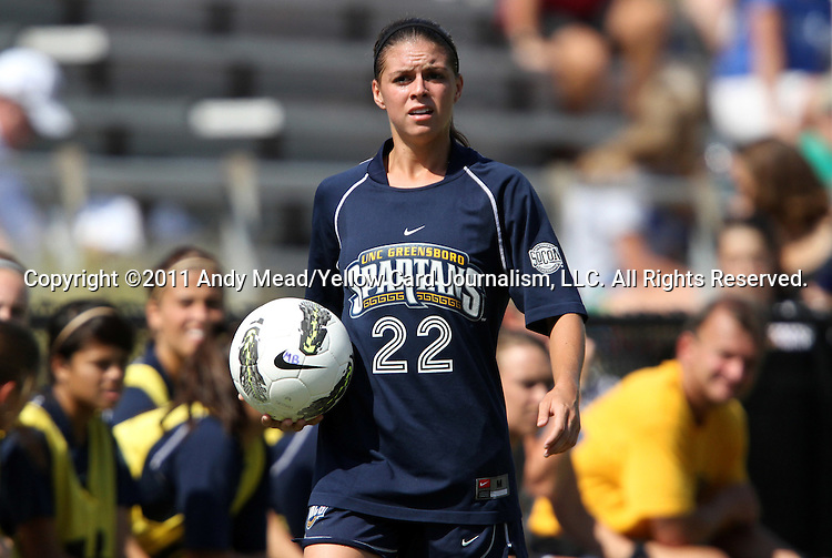 11 September 2011: UNCG's Lauren Lover. The Duke University Blue Devils defeated the University of North Carolina at Greensboro Spartans 2-0 at Koskinen Stadium in Durham, North Carolina in an NCAA Division I Women's Soccer game.